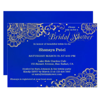 Midnight Royal Blue Indian Bridal Shower Invite