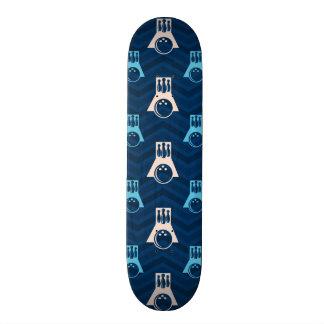 Midnight Sky Blue Tan Bowling Chevron Custom Skate Board