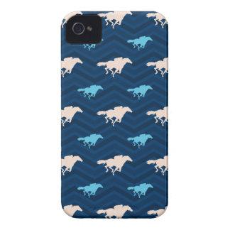 Midnight, Sky Blue, Tan, Horse Racing Chevron Case-Mate iPhone 4 Case