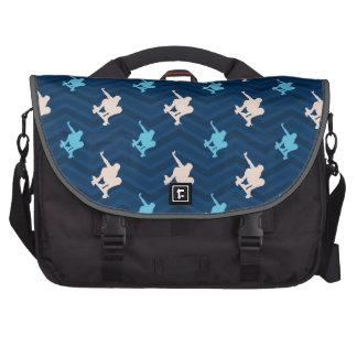 Midnight, Sky Blue, Tan, Skateboarding Chevron Laptop Bag