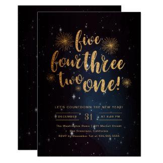 Midnight Sky & Gold Glitter New Year Celebration Card