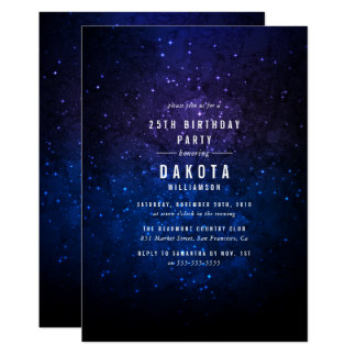 Midnight Sky & Shining Stars Galaxy Birthday Party Card