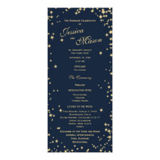 Midnight Sky Twinkle Navy Blue and Gold Rack Card