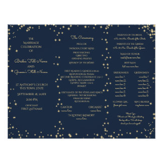 Midnight Sky Twinkle Star Tri Fold Wedding Program 21.5 Cm X 28 Cm Flyer