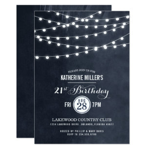 21st birthday invitations zazzle au midnight string lights 21st birthday party invite filmwisefo