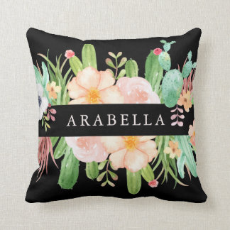 Midnight Watercolor Succulent Flowers Cushion