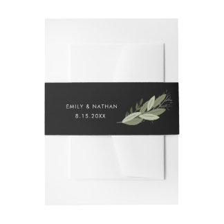 Midnight Wedding Sprigs Belly Band Invitation Belly Band