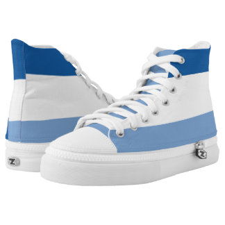 Midnight White and Light Blue Striped Hi-Top Printed Shoes