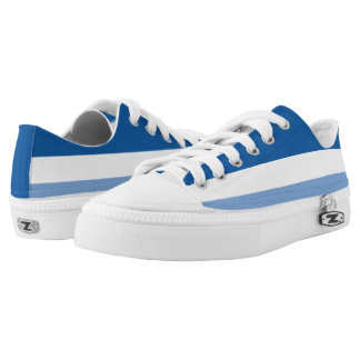 Midnight White and Light Blue Striped Lo-Top Printed Shoes