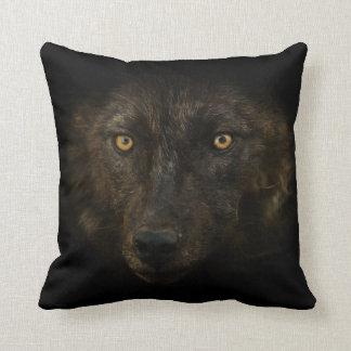 Midnights Gaze - Black Wolf Wild Animal Wildlife Cushion