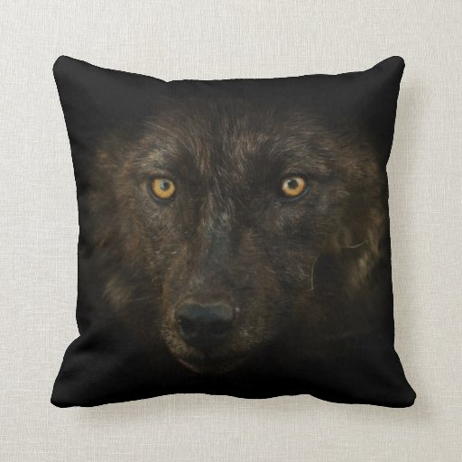 Midnights Gaze - Black Wolf Wild Animal Wildlife Throw Pillows