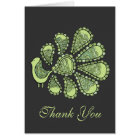 Midori Lime Peacock Wedding Thank You Note Card