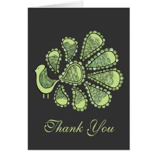 Midori Lime Peacock Wedding Thank You Note Card