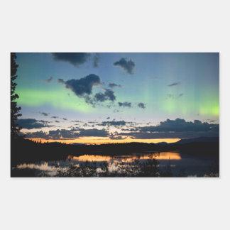 Midsummer Aurora borealis over Lake Laberge, Yukon Rectangular Sticker