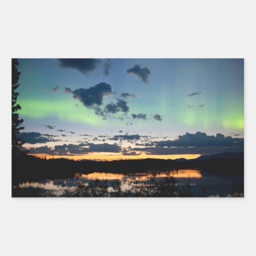 Midsummer Aurora borealis over Lake Laberge, Yukon Stickers