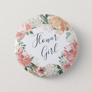 Midsummer Floral Flower Girl 6 Cm Round Badge