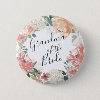 Midsummer Floral Grandma of the Bride 6 Cm Round Badge