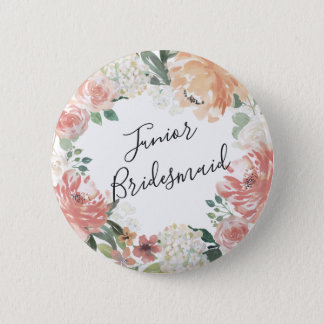 Midsummer Floral Junior Bridesmaid 6 Cm Round Badge