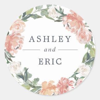 Midsummer Floral Wreath Wedding Classic Round Sticker