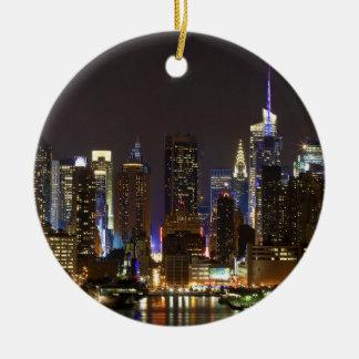Midtown Manhattan as seen from Weehawken NJ Ceramic Ornament