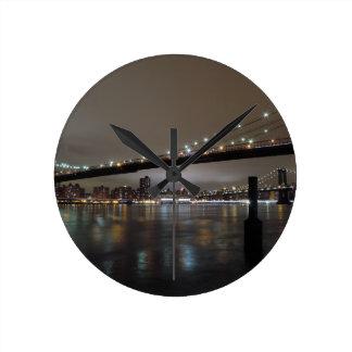 Midtown Manhattan at Night Round Clock