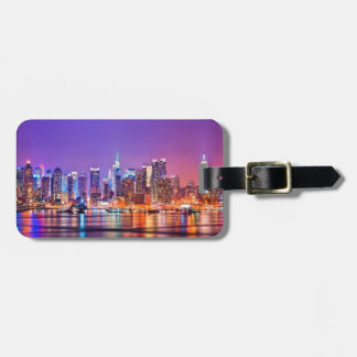 Midtown Manhattan at night with Empire Stae Bag Tag