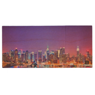Midtown Manhattan at night with Empire Stae Wood USB 2.0 Flash Drive