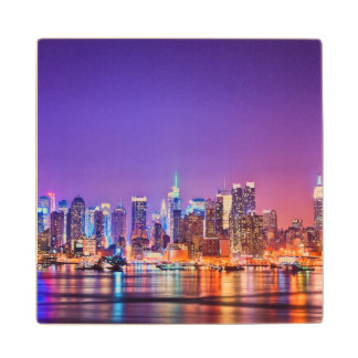 Midtown Manhattan at night with Empire Stae Maple Wood Coaster