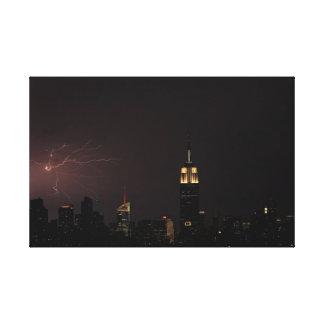 Midtown NYC Skyline with Spidery Lightning Strike Canvas Print