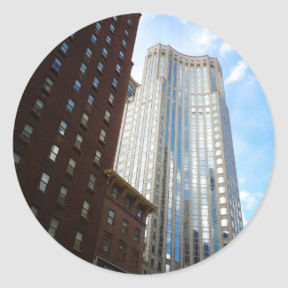 Midtown Skyscraper Reflection, New York City Classic Round Sticker