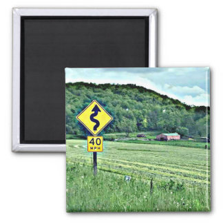 Midwest Curvy Road Sign Photography Magnet