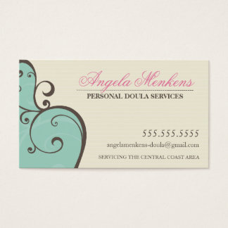 MIDWIFE DOULA creative swirls mint cream brown Business Card
