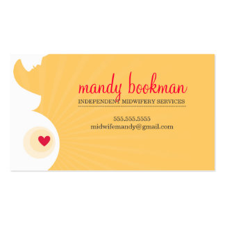 MIDWIFE pregnant belly silhouette heart yellow red Pack Of Standard Business Cards