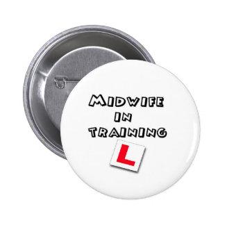 midwife training 6 cm round badge