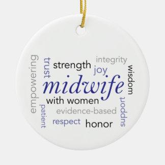 midwife word cloud ceramic ornament