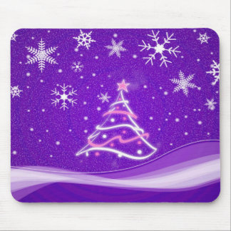 Midwinter forest scene purple mouse pad