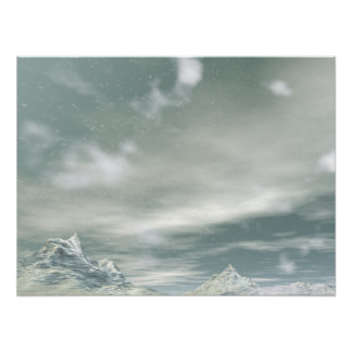 Midwinter Mountain Snow Fall Posters