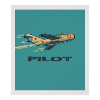 MIG PILOT (1960's Vintage Russian Candy wrapper) Poster
