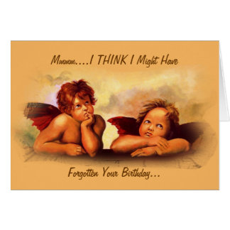 Might Have Forgotten Birthday: Angel Cherubs: Cute Greeting Card