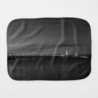 Mighty Mac At Night Pano Grayscale Burp Cloth