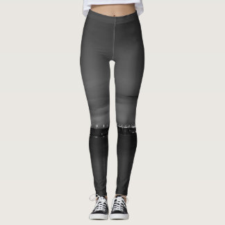 Mighty Mac At Night Pano Grayscale Leggings