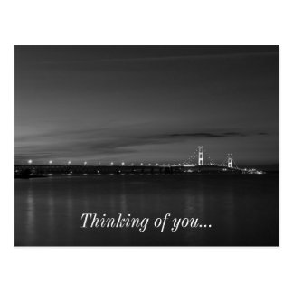 Mighty Mac At Night Pano Grayscale Postcard