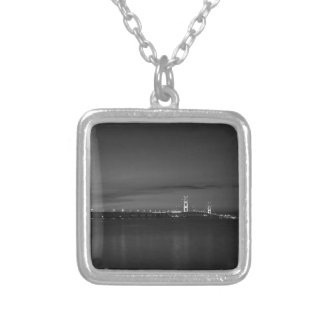 Mighty Mac At Night Pano Grayscale Silver Plated Necklace