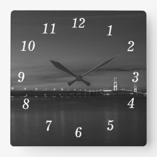 Mighty Mac At Night Pano Grayscale Square Wall Clock