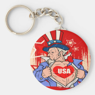 Mighty Uncle Sam Love USA Tattoo Key Ring