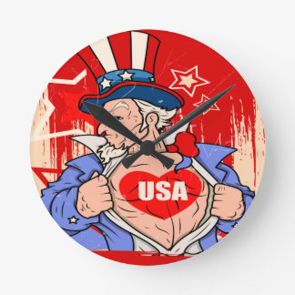 Mighty Uncle Sam Love USA Tattoo Round Clock
