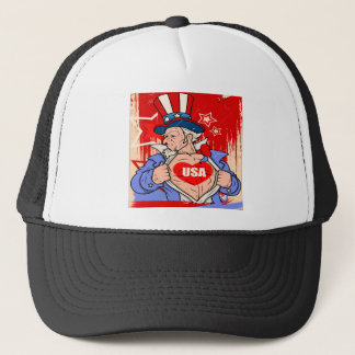 Mighty Uncle Sam Love USA Tattoo Trucker Hat