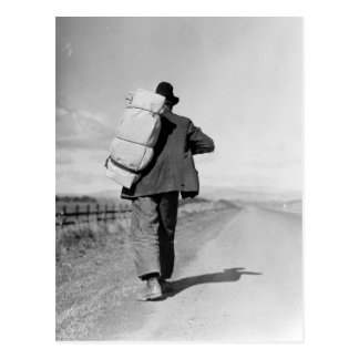 Migrant Walking – 1935 Postcard