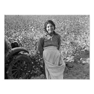 Migrant Worker in Cotton Field by Dorothea Lange Photo Print