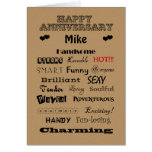 Mike Happy Anniversary Words of Praise Greeting Cards